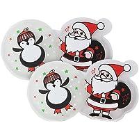 com-four® Calentador de Bolsillo 4X Papá + Pingüino, Calentador de Manos con Diferentes Motivos navideños (Papá Noel…