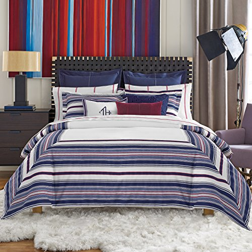 Tommy Hilfiger 033250TH003 Sutton Stripe Duvet Set, King, White/Navy