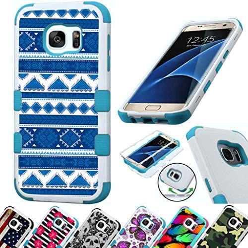 For Samsung Galaxy S7 Edge G935 Case 3-Layer Armor Hybrid Rugged Silicone Phone Cover FancyGuard (Tribal Teal/ Sales