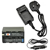 DSTE Reservbatteri och reseladdare kompatibel med Sony NP-F930 NP-F950 NP-F960 NP-F970 CCD-TR76 CCD-TR87 CCD-TR516 CCD…