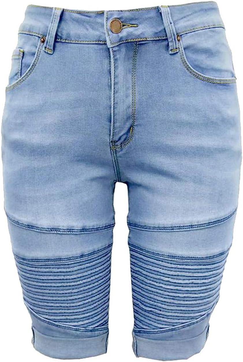 GUOCU Jeans Pantalones de Mujer Cintura Media El/ásticos Skinny Denim Cortos Longitud Rodilla Cl/ásico Medio Pantalones