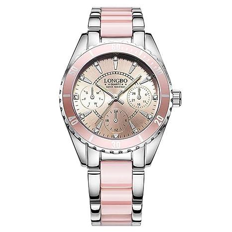 Reloj Mujer Elegante, LuckyGirls ❤ Alloy, Correa La Cerámica Impermeable La Noche La