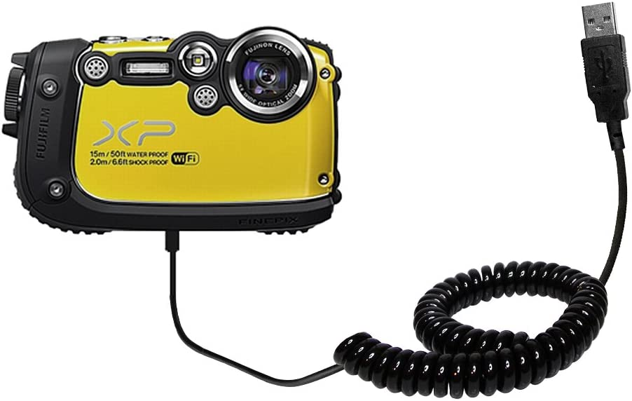 Charging and HotSync functions with one cable Built with TipExchange Gomadic Unique Coiled USB Charge and Data Sync cable compatible with Fujifilm Finepix XP200