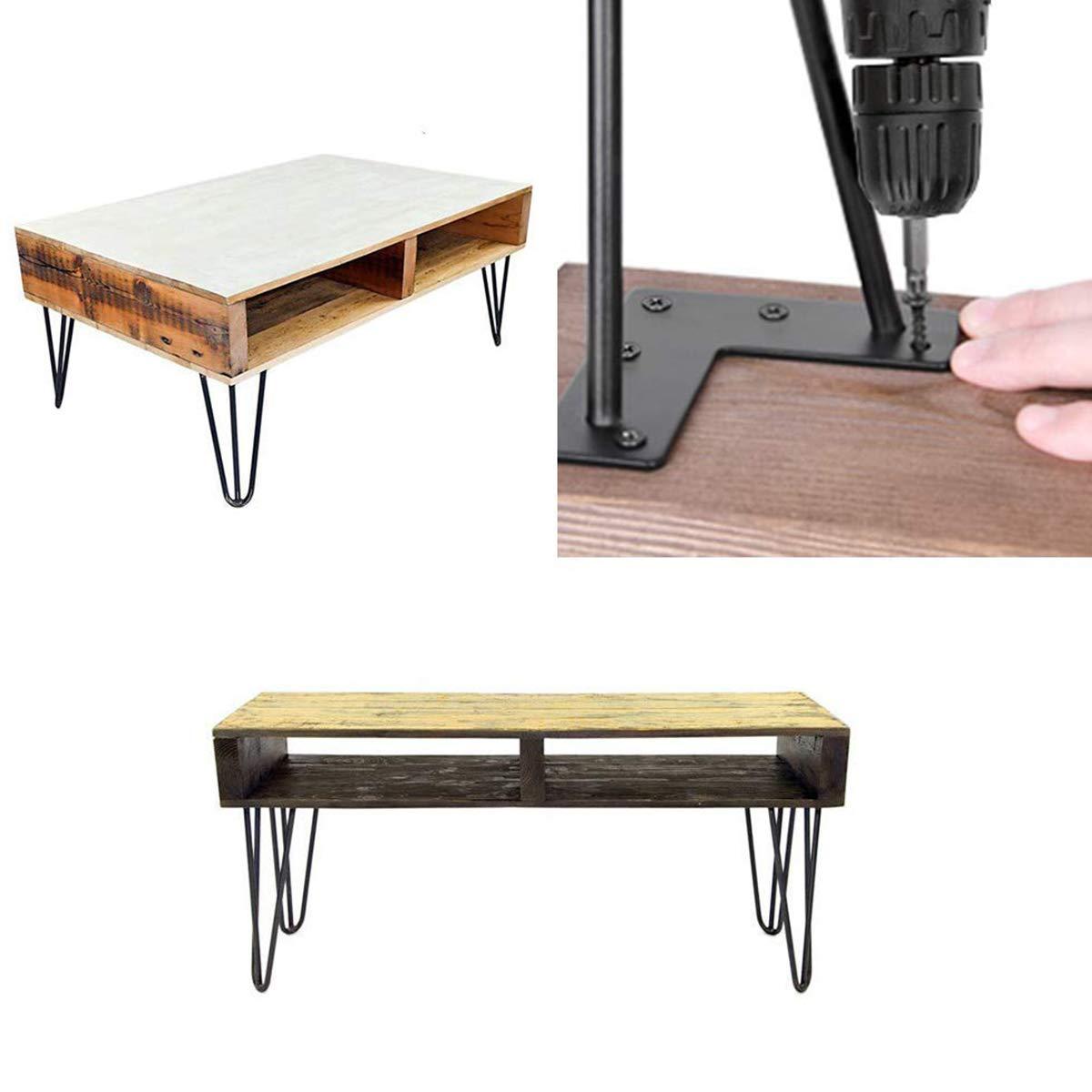 Pied Meuble Scandinave 4pce Pieds Epingle DIY Pieds pour Table Pied de Chaise avec 20 Vis 4 Prot/ège Pieds 75cm-60mm- Table