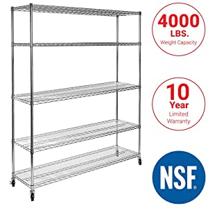 "Seville Classics UltraDurable Commercial-Grade 5-Tier NSF-Certified Steel Wire Shelving with Wheels, 48"" W x 24"" D x 72"" H, Chrome"