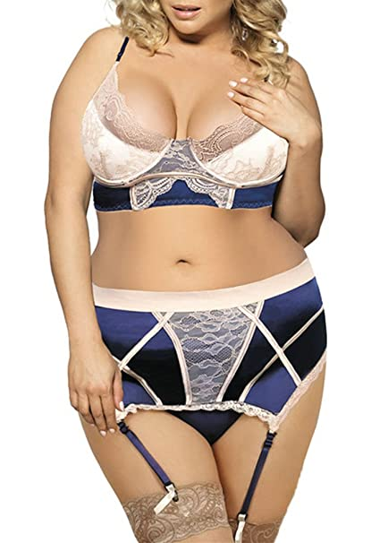66f2b663117a6 Kevansly Satin Wedding Lingerie Set Lace Bra G-String Garter Belt Chemise  Babydoll Plus Size at Amazon Women s Clothing store