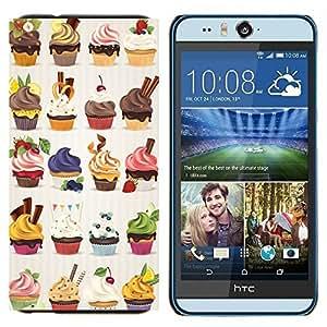 TECHCASE---Cubierta de la caja de protección para la piel dura ** HTC Desire Eye ( M910x ) ** --magdalena dulces de panadería postres de cereza