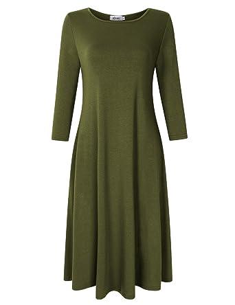 e8f8d6e4cf8fa MISSKY Women's Scoop Neck 3/4 Long Sleeve Midi Dress Loose Swing Casual  Dress with