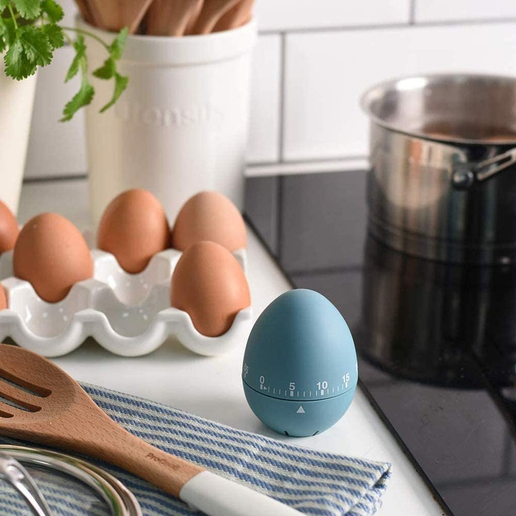 60 Minute Black Bounabay Egg Mechanical Timer Egg Shaped Classic Cooking and Baking Countdown Rotating Alarm