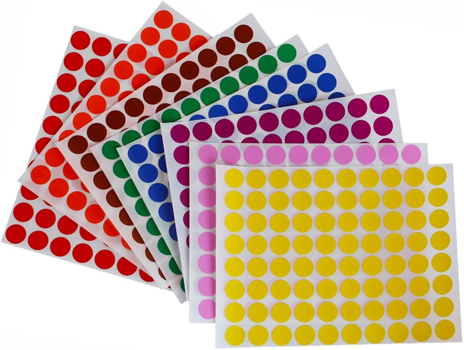 Royal Green Dot Stickers 1/2 inch 13mm - Colored Labels Round Sticker in 8 Colors - 16 Sheets Total - 1280 Pack