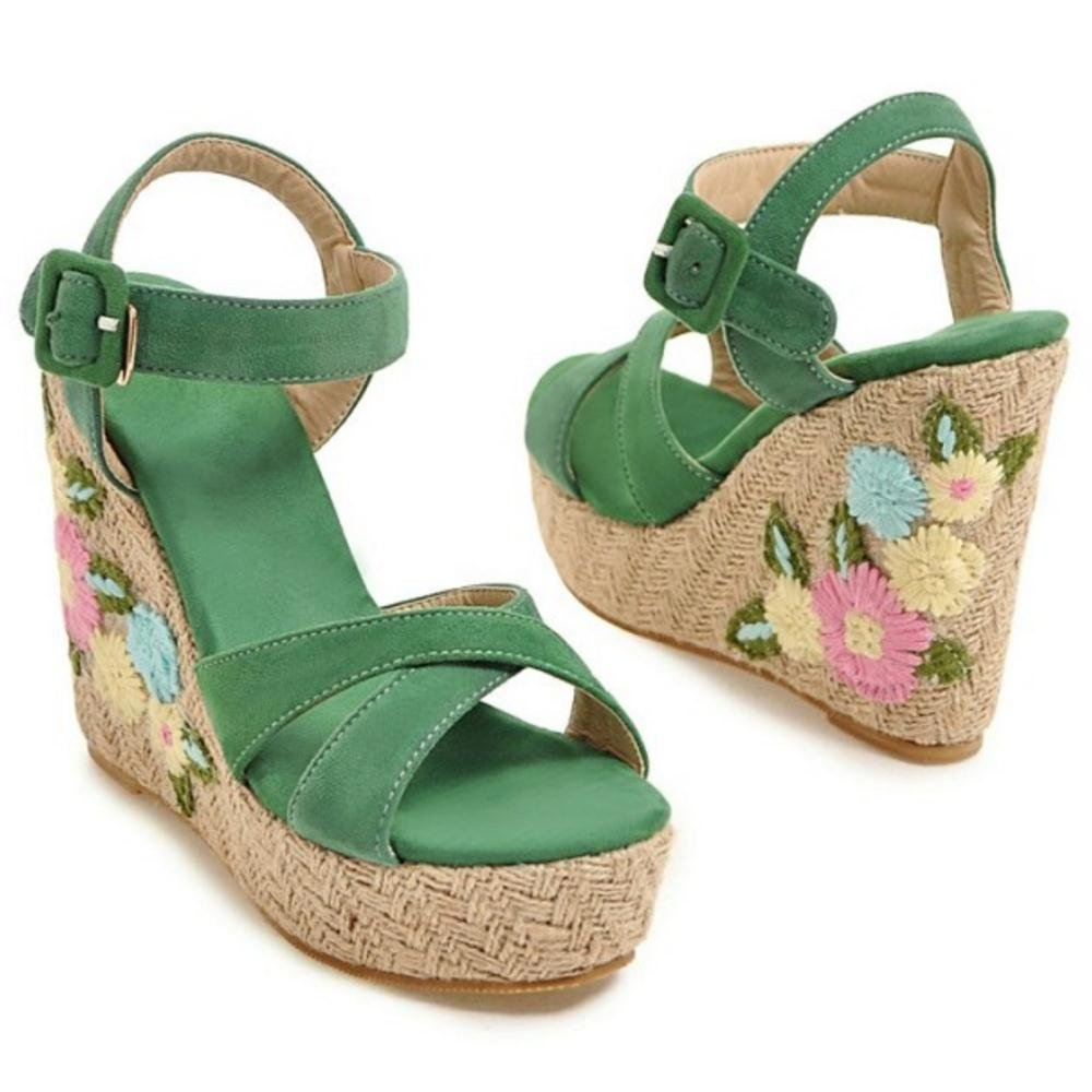 TAOFFEN Women Ankle Strap Wedge Heels Sandals B07BTWPDDK 6 US = 23.5 CM|Green-3