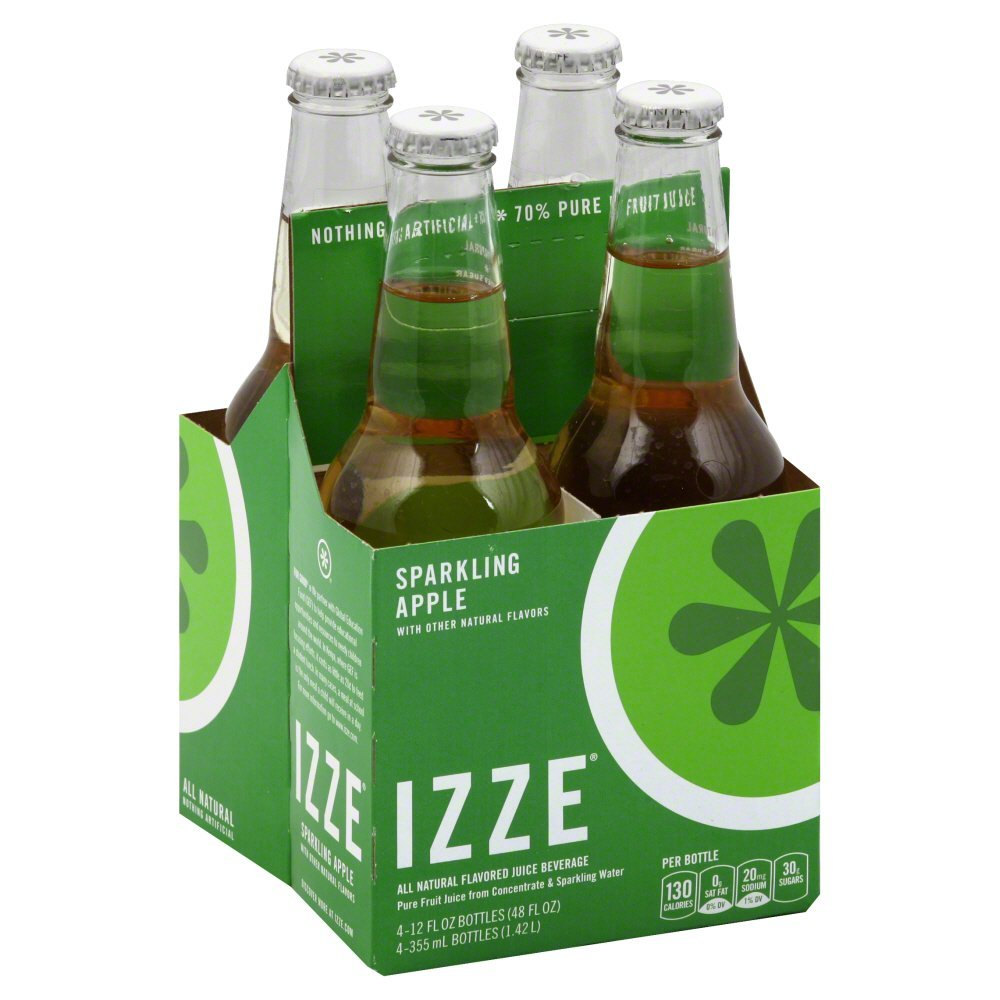 Izze Juice Beverage Blend, Sparkling Apple, 12 Ounce (24 Bottles) by Izze