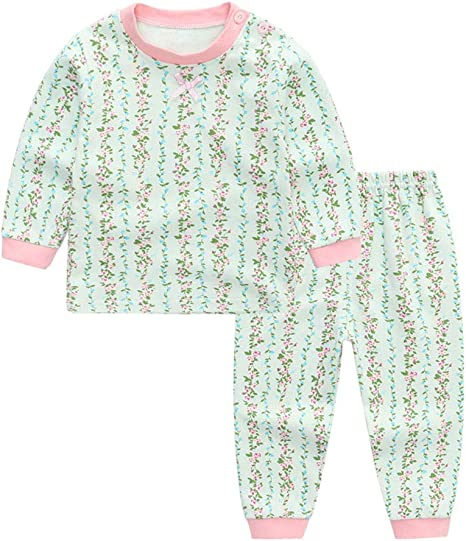 2 Piezas Pijamas Conjunto de Ropa Para Niños Manga Larga Pijama Tops + Pantalones Largos Bebé Ropa de Dormir Para Niños Lindo Impresión Algodón Trajes 1-2 Años: Amazon.es: Bebé