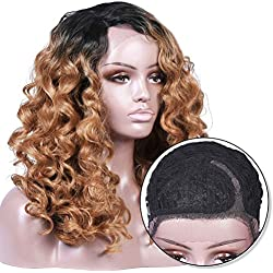 Armmu Ombre Blonde Wigs Glueless Lace Front Wigs for Women Synthetic Hair 1B/27 Body Wave Wigs 2 Tones Deep Right L Part 24 inches