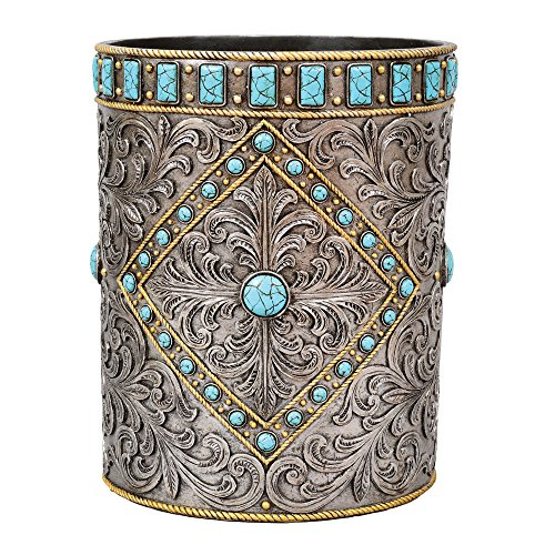 Turquoise & Silver Scroll Waste Basket (Wastebasket Scroll)
