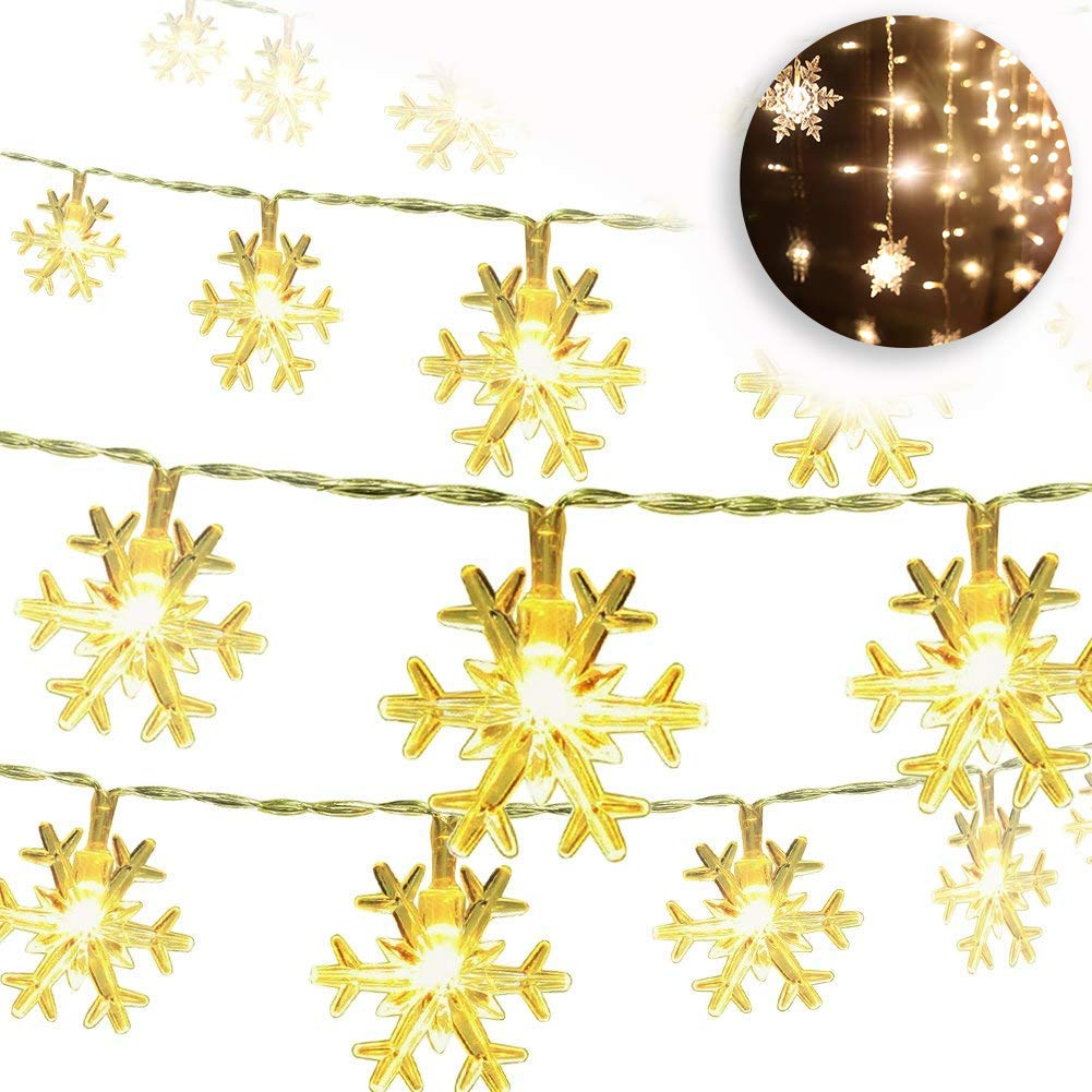 Christmas Snowflake String Lights 32.8ft 80LED Fairy Lights Battery Operated Waterproof for Xmas Garden Patio Bedroom Party Decor Indoor Outdoor Celebration Lighting, Warm White (10M 80 Lights) Dee Banna