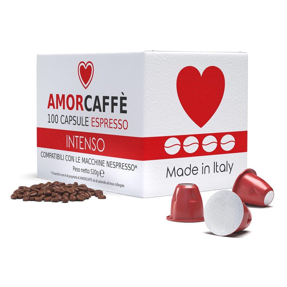 Amorcaffe 100 Cápsulas de Café Compatibles con Máquinas Nespresso - Intenso