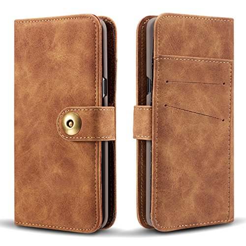 Gloriphy 2 in 1 Premium Suede Leather Wallet and Magnetic Detachable Slim Case Folio Cover with Card Slots for Samsung Galaxy S10e - Brown