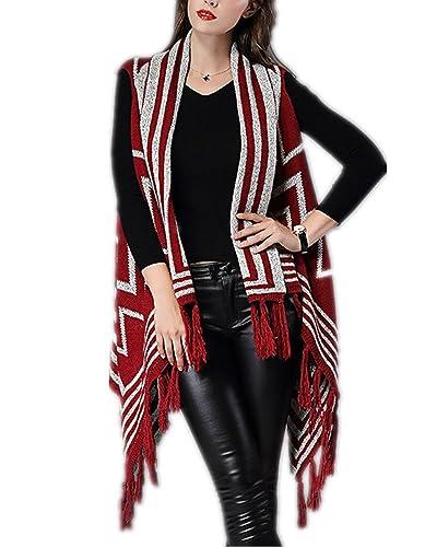 Charmly – Poncho – para mujer rojo rosso Talla única