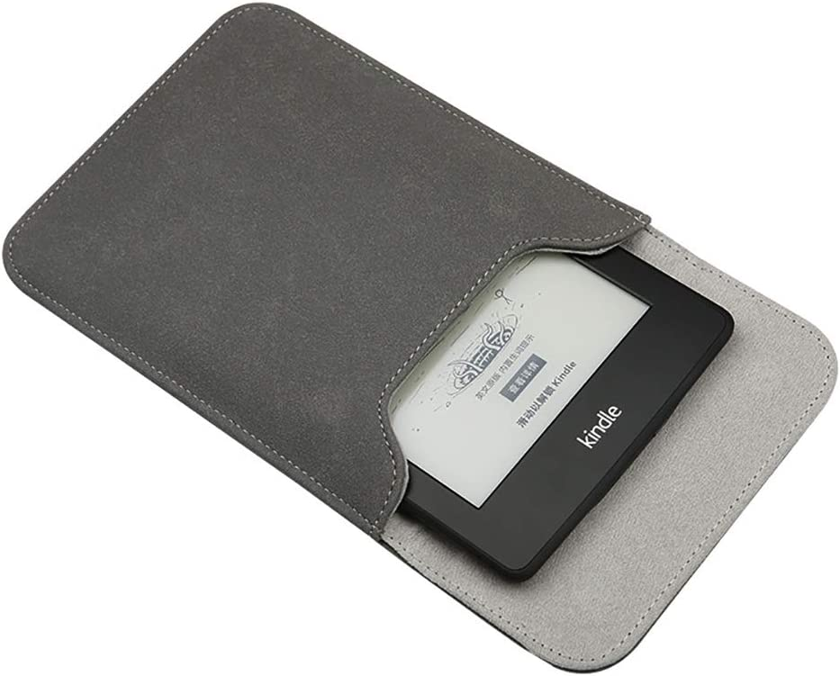 Emoly Leather Kindle Sleeve for Kindle Paperwhite 7'' E-Reader - Protective Insert Sleeve Case Cover Bag Fits Kindle Paperwhite 10th Generation 2019 / 9th Generation 2017, Gray