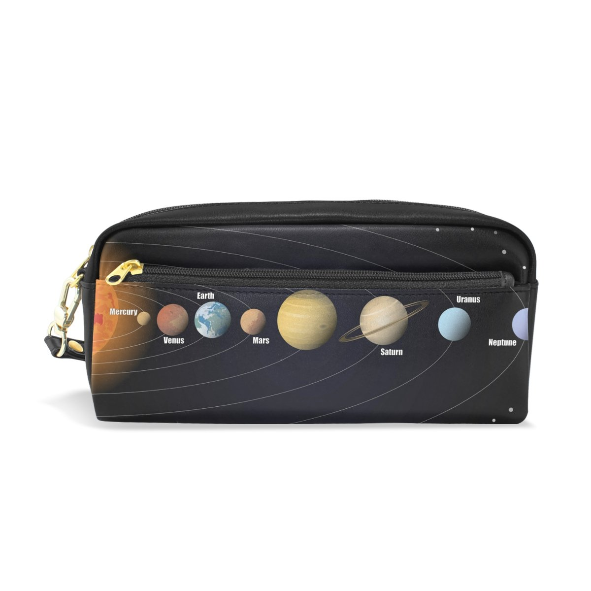 LORVIES Diagram Of Solar System Portable PU Leather Pencil Case School Pen Bags Stationary Pouch Case Large Capacity Makeup Cosmetic Bag