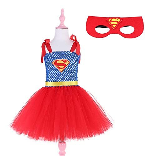 7533ed313437 Amazon.com: Red Supergirl Tutu Dress with Mask Children Kids Party Dresses  for Girls Halloween Costume: Handmade