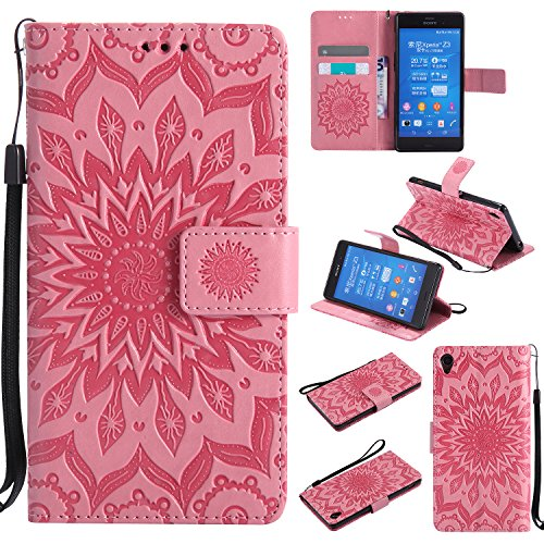 Sony Xperia Z3 Wallet Case,A-slim(TM) Sun Pattern Embossed PU Leather Magnetic Flip Cover Card Holders & Hand Strap Wallet Purse Case for Sony Xperia Z3 - Pink