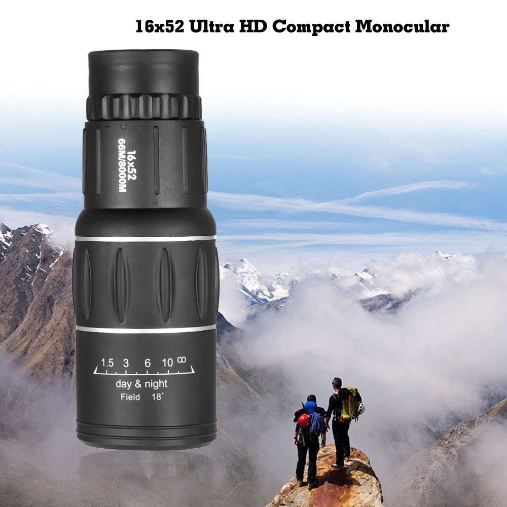 Lixada 16x52 Telescopio Monocular de Alta Potencia de Doble Enfoque Monocular de Mano Ultra Port/átil Ultra HD para la Caza