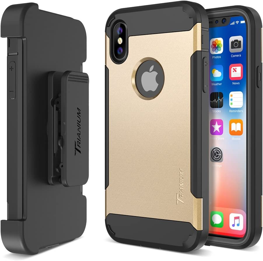 """Trianium Duranium Holster Case Compatible with iPhone Xs & iPhone X Case (5.8"""" Phone ONLY) [Heavy Duty Full-Body Protection] Built-in Screen Protector/Belt Clip Holder with Kickstand - Gold"""