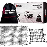 ROCKET STRAPS Cargo Net | 4'x6' Bungee Net Stretches to 8'x12' | Truck Bed Net Includes (12) Steel Carabiners & Bag | Heavy Duty 5mm 3'x3' Mesh | Bonus 16'x16' Motorcycle and Bike Net | (2) Cargo Nets