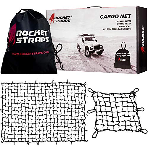 ROCKET STRAPS Cargo Net | 4'x6' Bungee Net Stretches to 8'x12' | Truck Bed Net Includes (12) Steel Carabiners & Bag | Heavy Duty 5mm 3