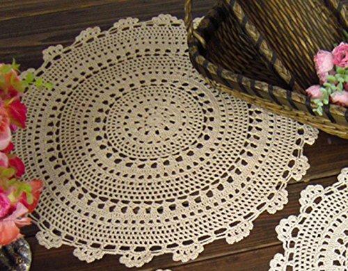 30,5cm 50,8cm beige Baumwolle Crochet Spitze Runde Tischdecke Untersetzer Deckchen M05, Textil, Beige, 20''/50cm