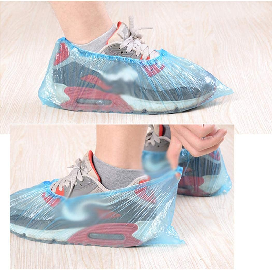 Mositto 100Pcs Disposable Plastic Shoe Covers Overshoes Waterproof Boot Shoe Covers