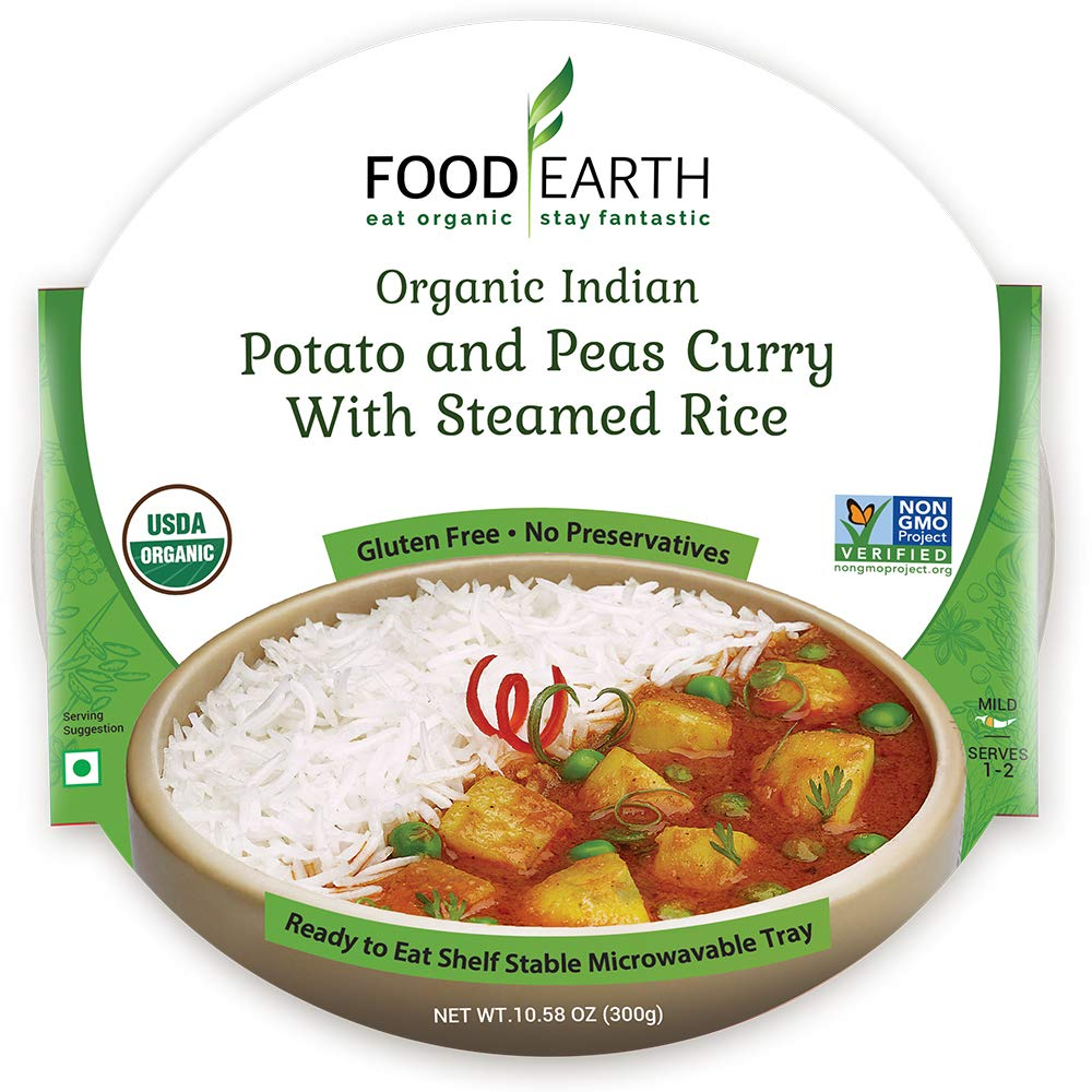 Food Earth Organic Indian Potato & Peas Curry with Steamed Rice - Ready to Eat Indian Meals - Indian Food - Organic Microwaveable Meals - Pre Prepared Meals - (6 PACK)