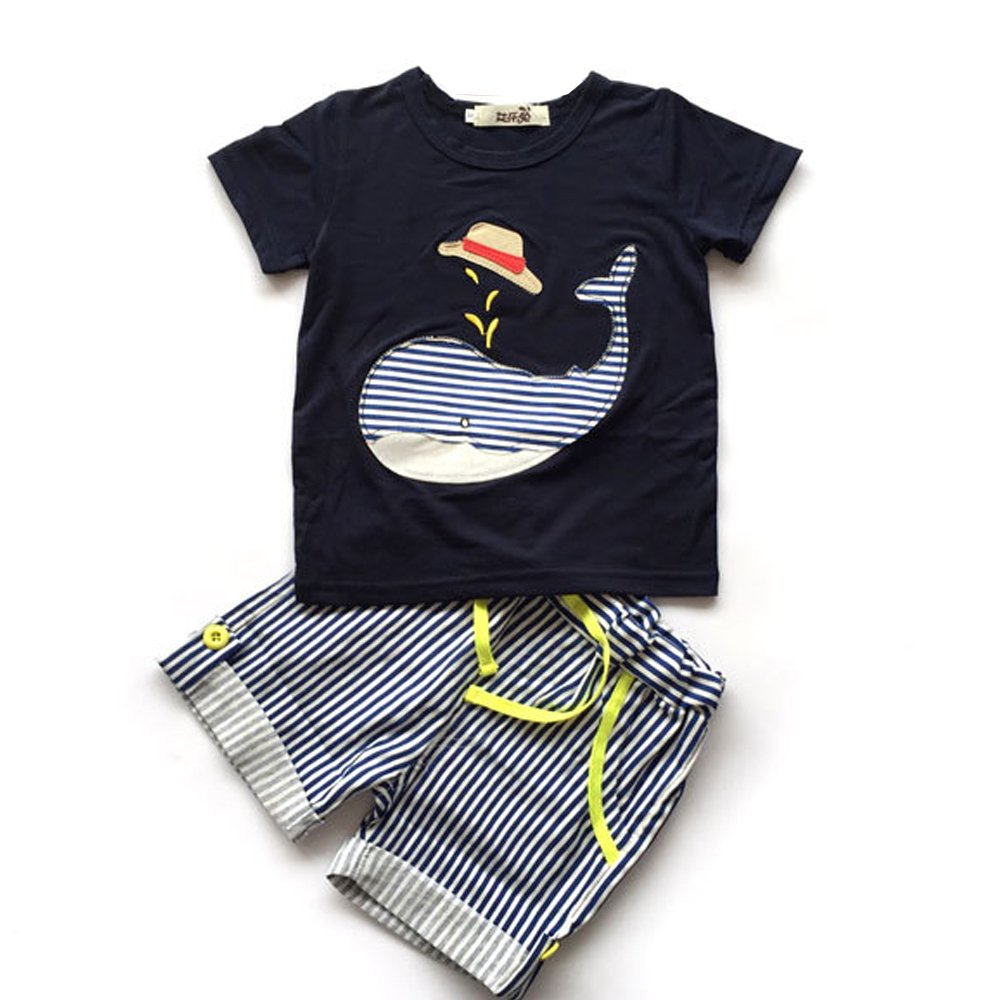 Evelin LEE Baby Boy Short Sleeve T-Shirts and Stripe Shorts 2pcs Set Clothes