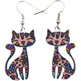 Bonsny Sweet Dangle Sitting CAT Earrings Acrylic Long Drop For Girls Women Pattern Jewelry