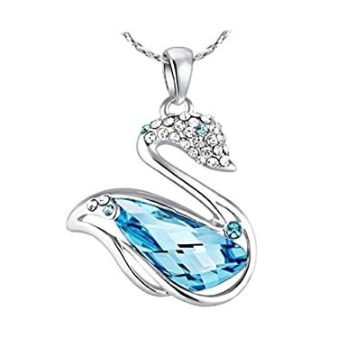 Nevi swan animal fashion swarovski elements rhodium plated matinee nevi swan animal fashion swarovski elements rhodium plated matinee pendant necklace jewellery for women girls mozeypictures Images