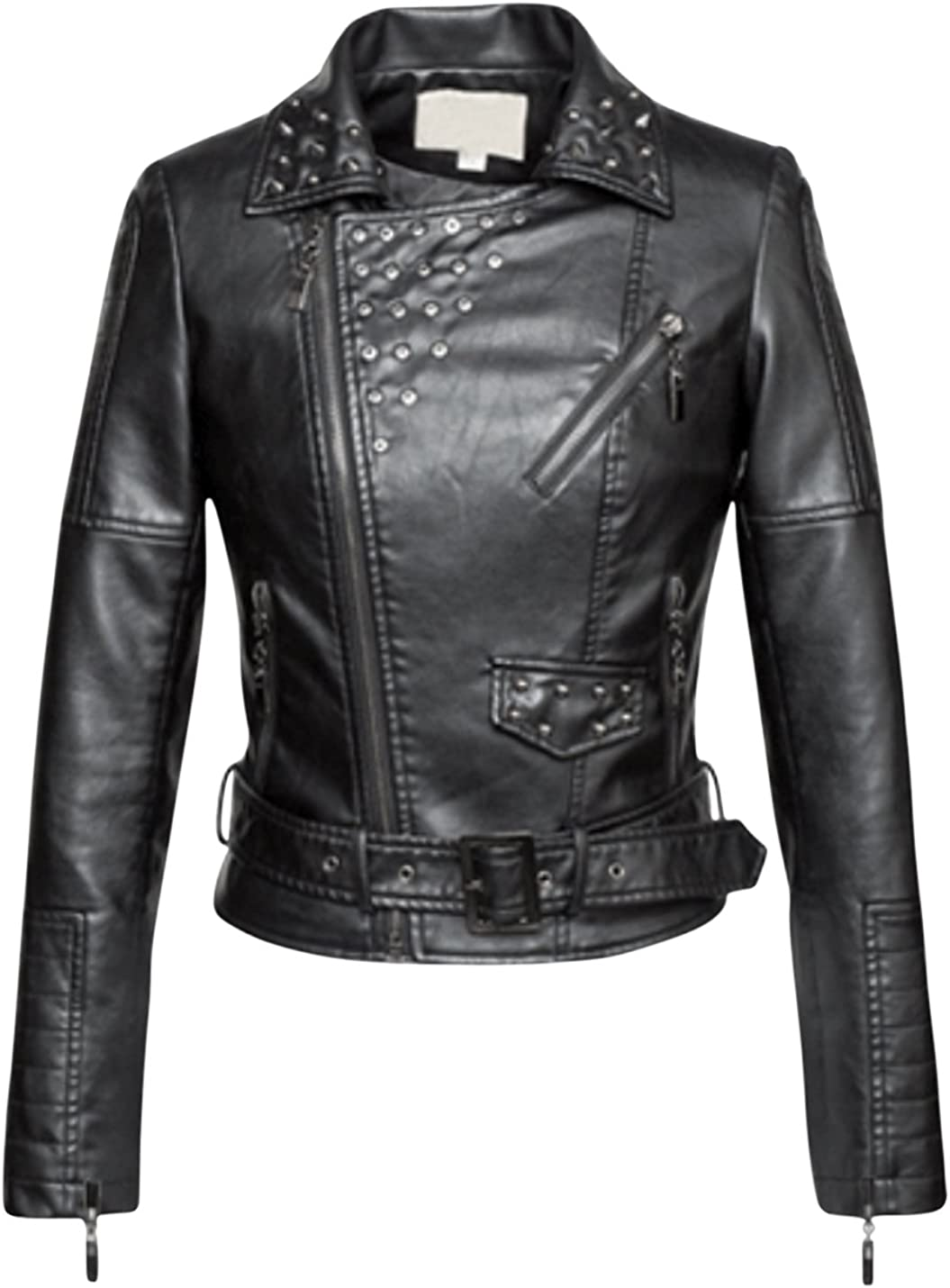Springrain Womens Lapel Slant Zip Rivets Outerwear Short PU Leather Moto Jackets