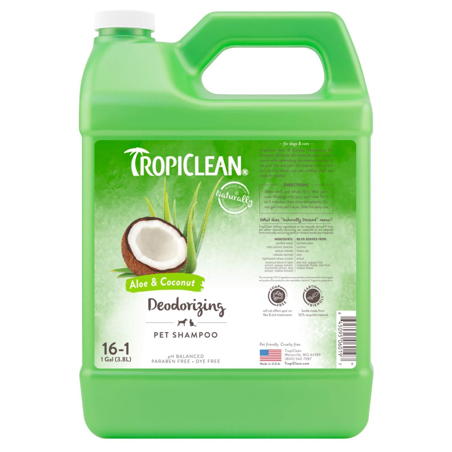 Tropiclean Deodorizing Aloe and Coconut Pet Shampoo, 1 Gall