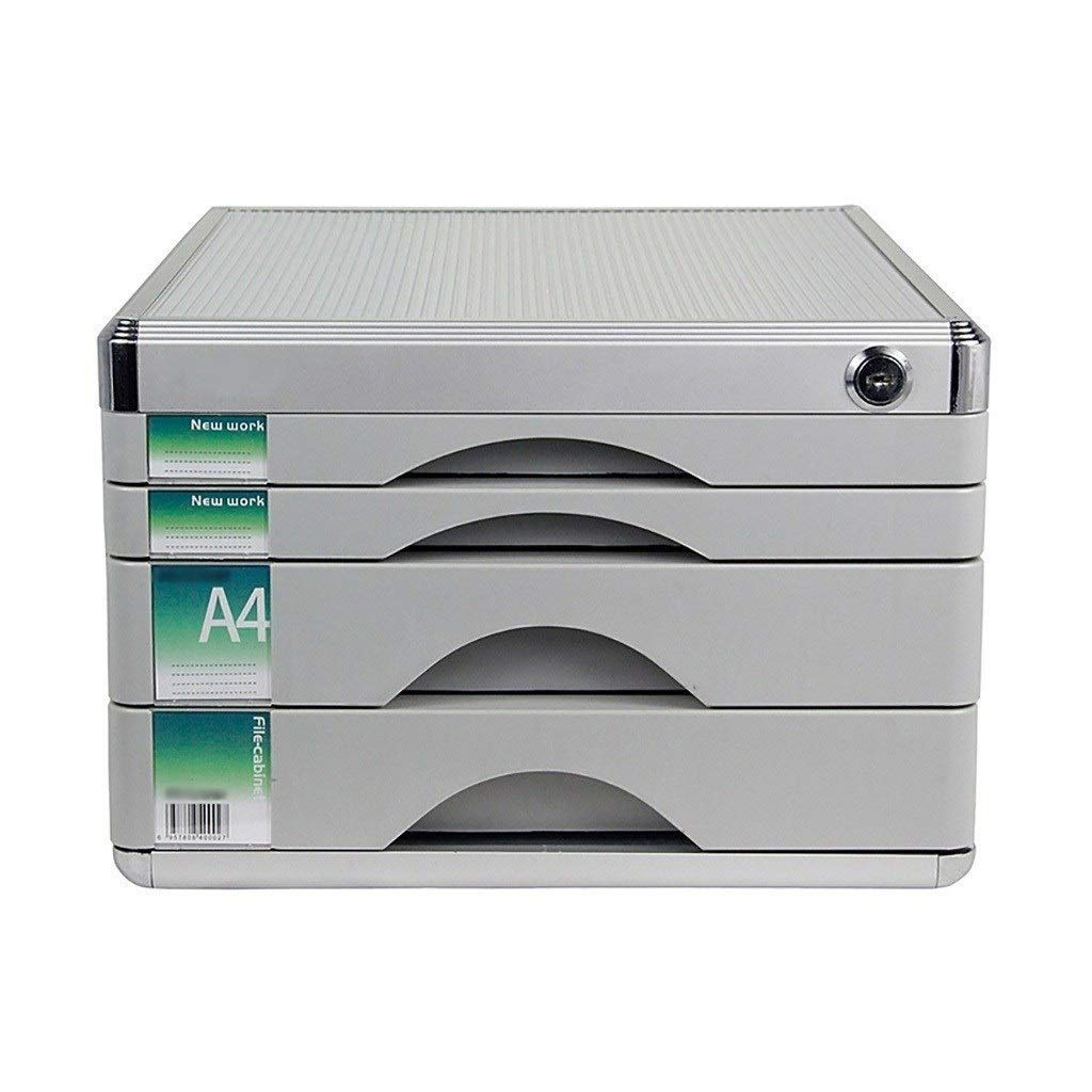 File Cabinets,Tabletop Office Desktop Drawer Cupboard 4 Layers Lockable Aluminum Alloy Data Storage Box(Size: 12in14.4in8.2in)