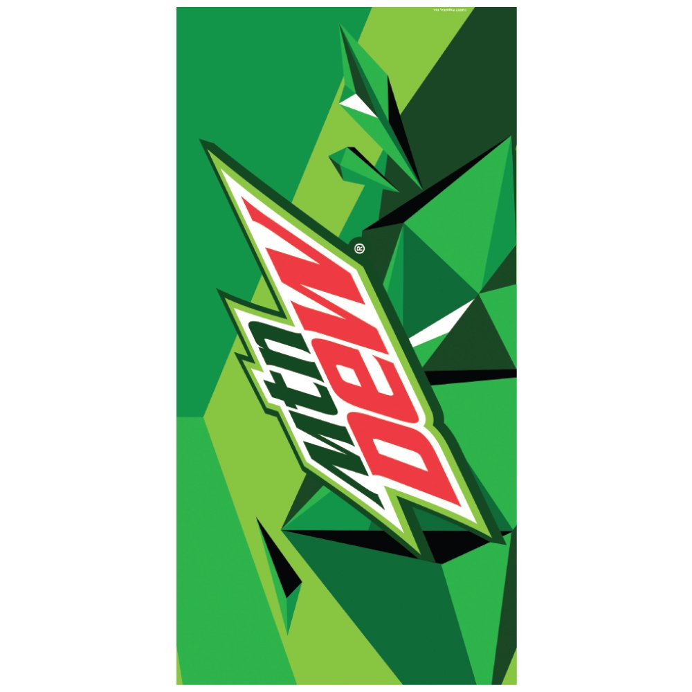 Rockin Gear Beach Towel Officially Licensed 'Mountain Dew' Soda - 100% Cotton Velour Terry Cloth Beach Towel 30'' x 60''