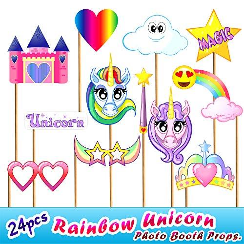 Rainbow Brite Costumes Kids (24pc Rainbow Unicorn Photo Booth Props, Novelty Toys Dress Up Decorations for Children Birthday Party, Emoji Rainbow)
