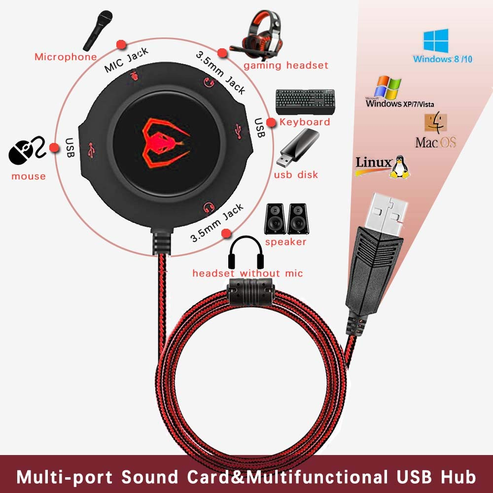 USB Hub Virtual 7.1 Channel Sound Card Adapter External Sound Card with 3.5mm AUX Mic Jack for PC Computer Gaming Headset Headphones Earphone PS4 Laptop Desktop Windows Mac OS Linux Plug Play red