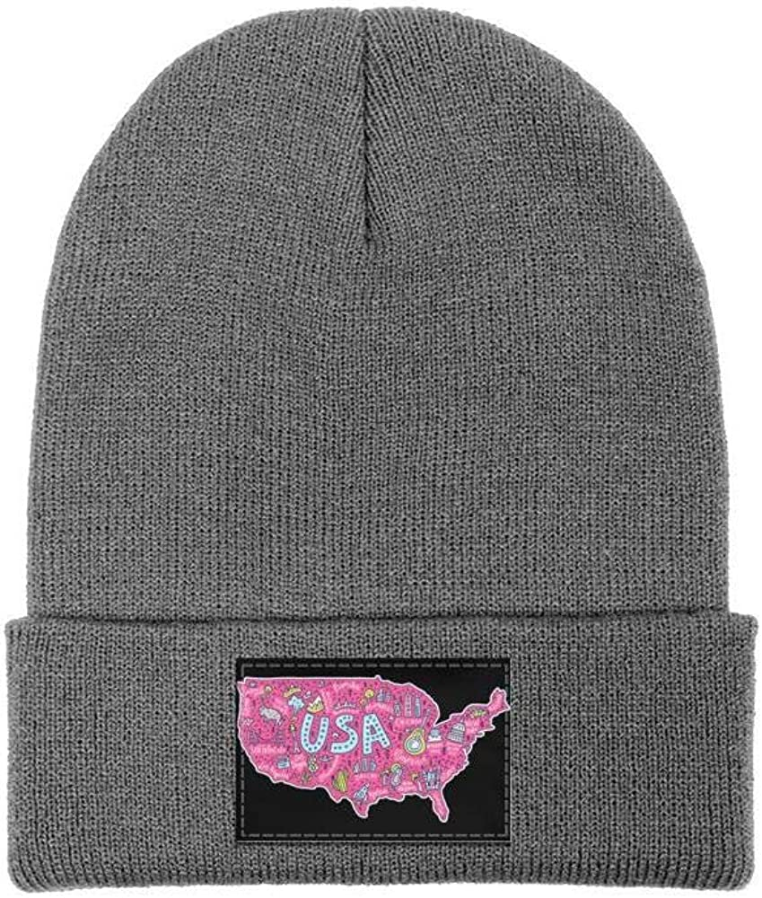 Mens Slouchy Beanie Hat Cashmere Hats USA Map of New York Cartoon Pink Ski Cap