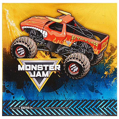 Monster Jam birthday party supplies 40 pack lunch napkins by BirthdayExpress
