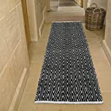 Chardin home 100% Cotton Diamond  Runner Rug Fully Reversible, Size -2'x5', Machine Washable, Black/White