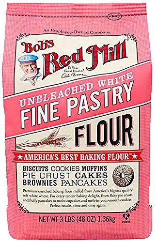 Bob's Red Mill ~ Fine White Pastry Flour Unbleached ~ 3 lbs ~ America's Best Baking Flour (Single 3lb (Baking Wheat Flour)