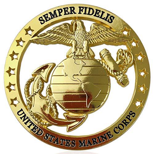 United States Marine Corps Car Emblem Challenge Coin Military Veteran Semper Fidelis Metal Auto ()