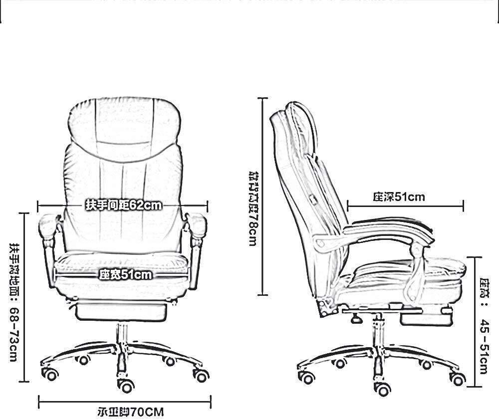 LQ stol Recline PU läder stoppning skrivbordsstol 180 ° stor vinkel vilande datorstol med utökad legstöd och avlastningsvikt 150 kg (färg: svart) BEIgE