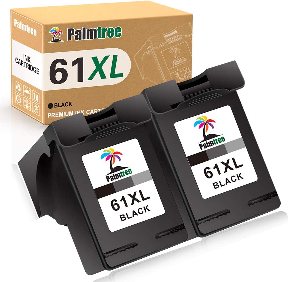Palmtree Remanufactured Ink Cartridge Replacement for HP 61XL 61 XL for HP Envy 4500 5535 5530 5534 Deskjet 1010 1000 1055 1512 2510 2549 2512 2544 3000 3510 3050A Officejet 4635 2620Printer (2 Black)